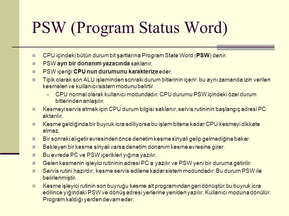 PSW (Program Status Word) CPU içindeki bütün durum bit şartlarına Program State Word (PSW) denir.