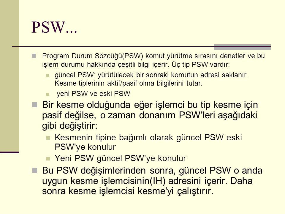 Program Durum Sözcüğü(PSW) komut yürütme sırasını denetler ve bu işlem durumu hakkında çeşitli bilgi içerir.