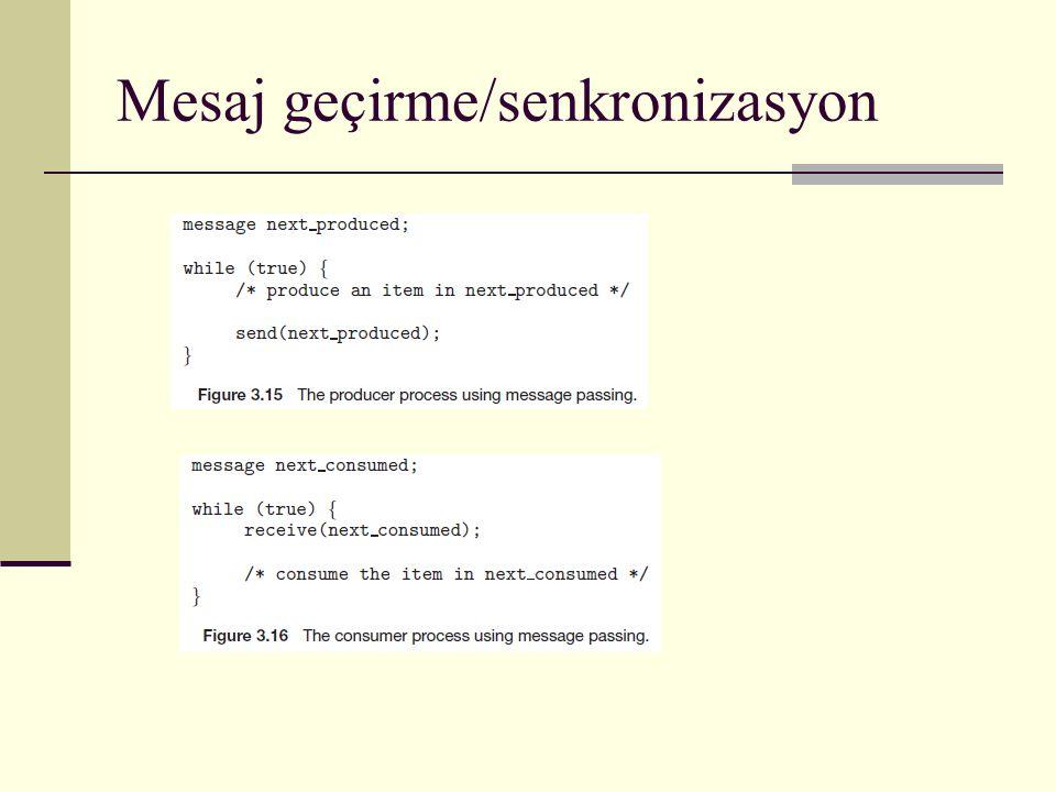 Mesaj geçirme/senkronizasyon