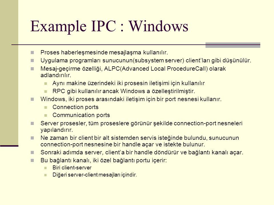 Example IPC : Windows Proses haberleşmesinde mesajlaşma kullanılır.