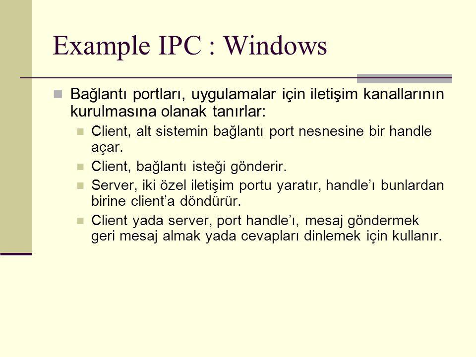Example IPC : Windows Bağlantı portları, uygulamalar için iletişim kanallarının kurulmasına olanak tanırlar: Client, alt sistemin bağlantı port nesnesine bir handle açar.