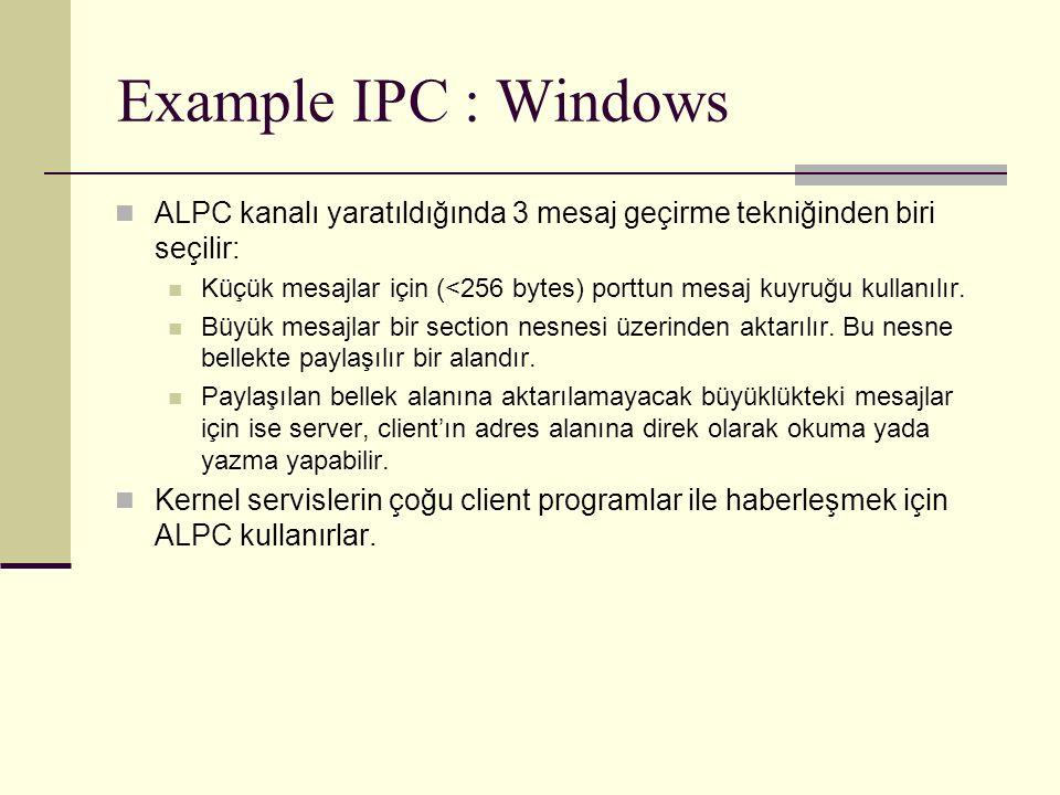 Example IPC : Windows ALPC kanalı yaratıldığında 3 mesaj geçirme tekniğinden biri seçilir: Küçük mesajlar için (<256 bytes) porttun mesaj kuyruğu kullanılır.
