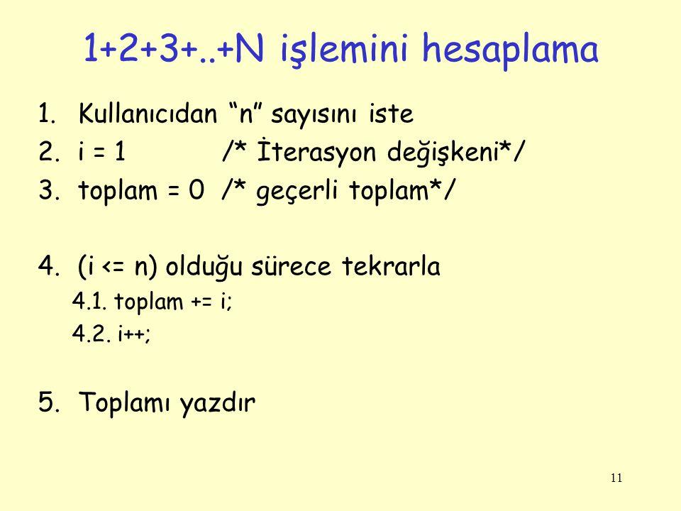 11 1.Kullanıcıdan n sayısını iste 2.i = 1 /* İterasyon değişkeni*/ 3.toplam = 0 /* geçerli toplam*/ 4.(i <= n) olduğu sürece tekrarla 4.1.