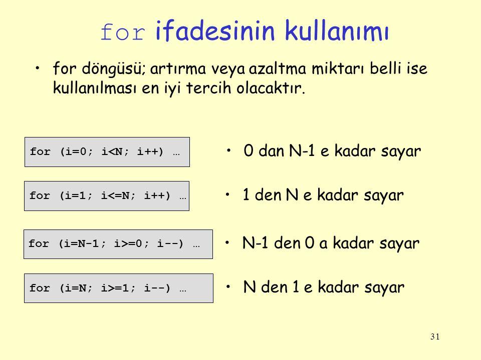 31 for ifadesinin kullanımı for (i=0; i<N; i++) … for döngüsü; artırma veya azaltma miktarı belli ise kullanılması en iyi tercih olacaktır.