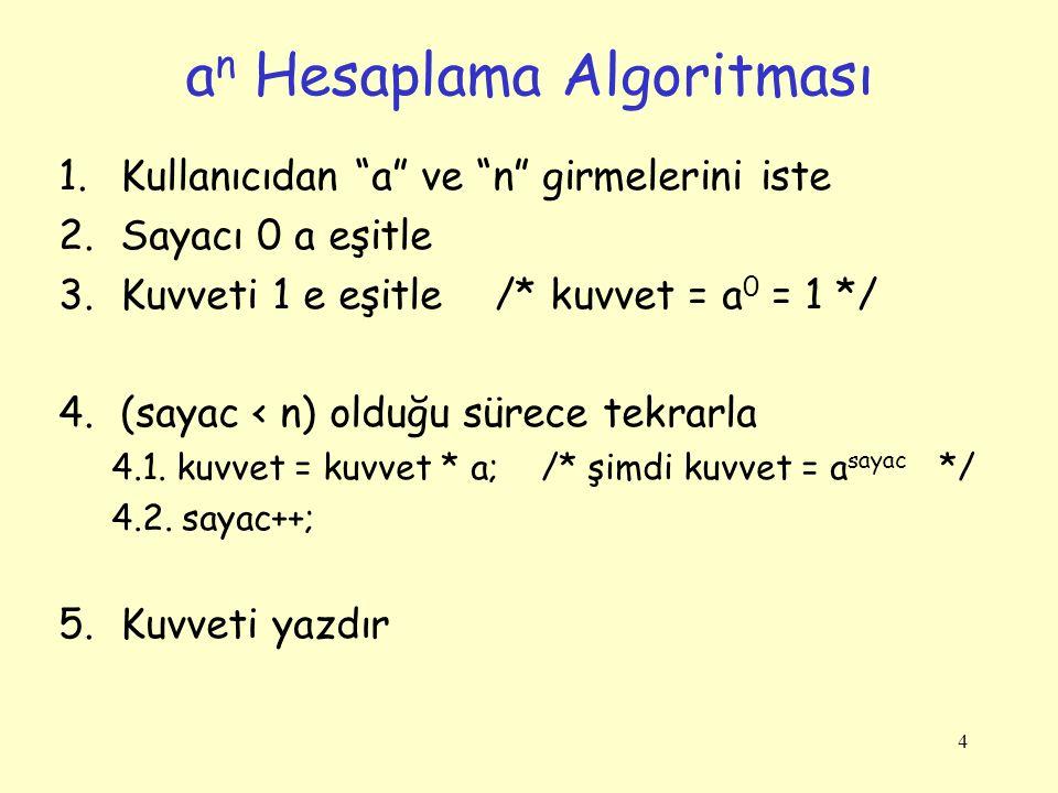 4 1.Kullanıcıdan a ve n girmelerini iste 2.Sayacı 0 a eşitle 3.Kuvveti 1 e eşitle /* kuvvet = a 0 = 1 */ 4.(sayac < n) olduğu sürece tekrarla 4.1.