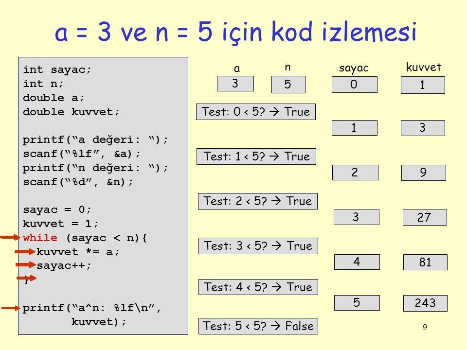 9 a = 3 ve n = 5 için kod izlemesi int sayac; int n; double a; double kuvvet; printf( a değeri: ); scanf( %lf , &a); printf( n değeri: ); scanf( %d , &n); sayac = 0; kuvvet = 1; while (sayac < n){ kuvvet *= a; sayac++; } printf( a^n: %lf\n , kuvvet); 0 1 sayac kuvvet 3 5 a n Test: 0 < 5.