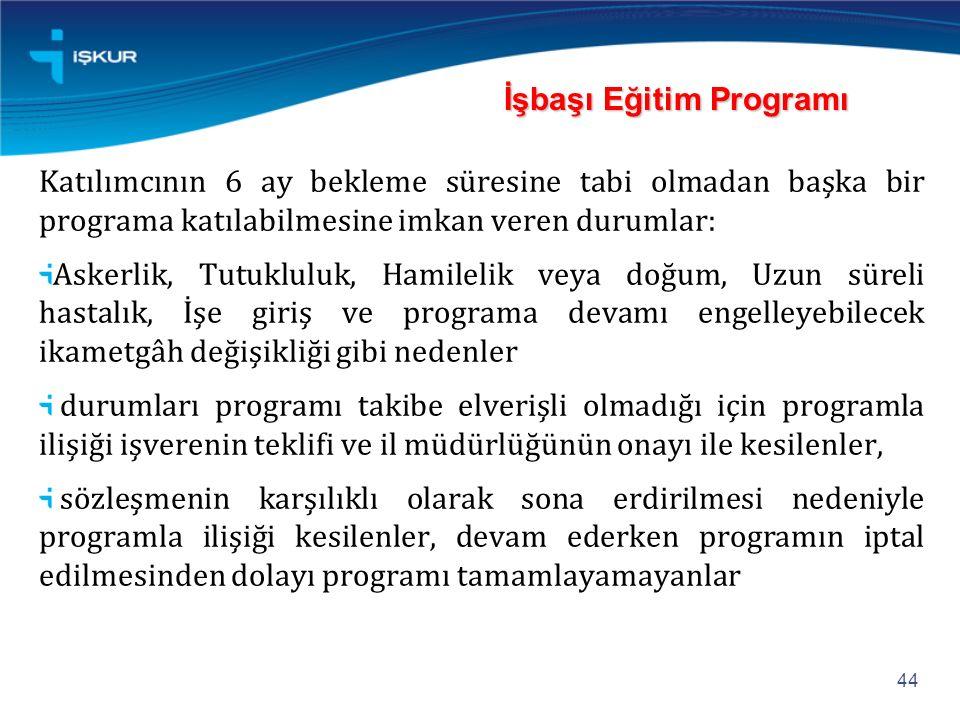 Katılımcının 6 ay bekleme süresine tabi olmadan başka bir programa katılabilmesine imkan veren durumlar: Askerlik, Tutukluluk, Hamilelik veya doğum, U