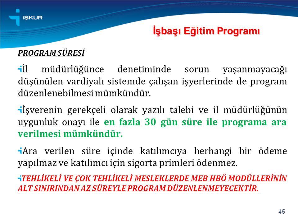 İşbaşı Eğitim Programı PROGRAM SÜRESİ İl müdürlüğünce denetiminde sorun yaşanmayacağı düşünülen vardiyalı sistemde çalışan işyerlerinde de program düzenlenebilmesi mümkündür.
