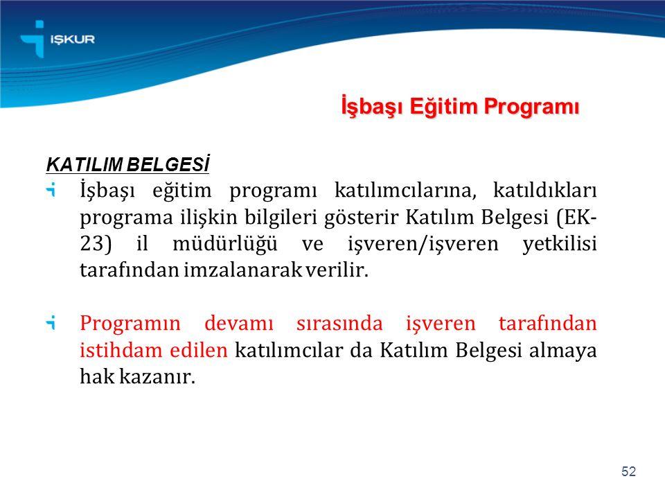 İşbaşı Eğitim Programı KATILIM BELGESİ İşbaşı eğitim programı katılımcılarına, katıldıkları programa ilişkin bilgileri gösterir Katılım Belgesi (EK- 23) il müdürlüğü ve işveren/işveren yetkilisi tarafından imzalanarak verilir.