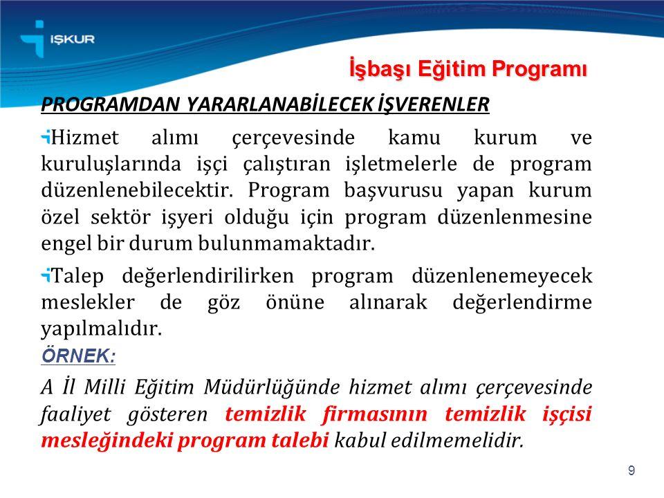 İşbaşı Eğitim Programı İşbaşı Eğitim Programı PROGRAMDAN YARARLANABİLECEK İŞVERENLER Hizmet alımı çerçevesinde kamu kurum ve kuruluşlarında işçi çalış