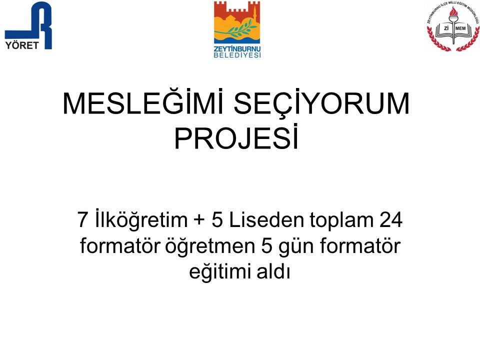 MESLEĞİMİ SEÇİYORUM PROJESİ 7 İlköğretim + 5 Liseden toplam 24 formatör öğretmen 5 gün formatör eğitimi aldı