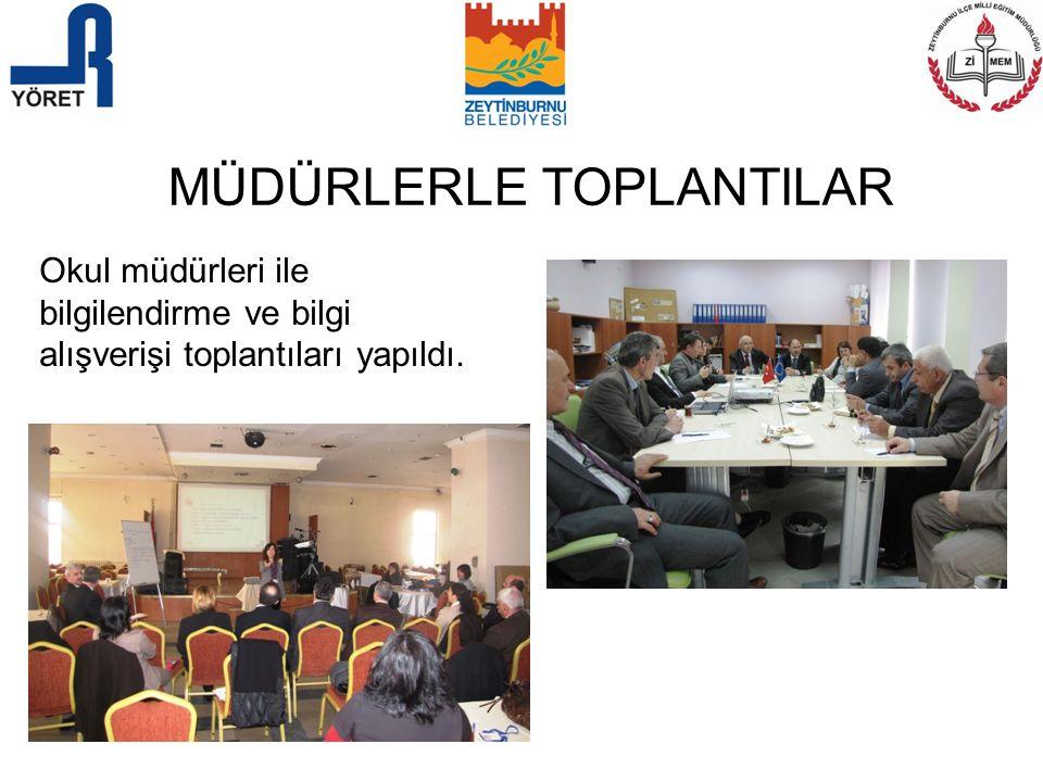 MÜDÜRLERLE TOPLANTILAR Okul müdürleri ile bilgilendirme ve bilgi alışverişi toplantıları yapıldı.