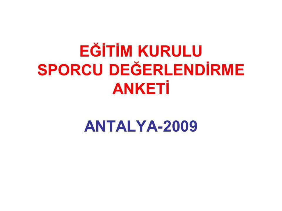 EĞİTİM KURULU SPORCU DEĞERLENDİRME ANKETİ ANTALYA-2009