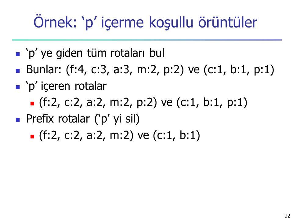 Örnek: 'p' içerme koşullu örüntüler 'p' ye giden tüm rotaları bul Bunlar: (f:4, c:3, a:3, m:2, p:2) ve (c:1, b:1, p:1) 'p' içeren rotalar (f:2, c:2, a