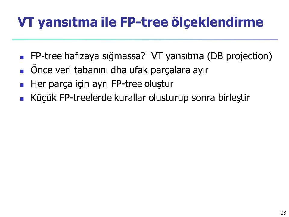 38 VT yansıtma ile FP-tree ölçeklendirme FP-tree hafızaya sığmassa? VT yansıtma (DB projection) Önce veri tabanını dha ufak parçalara ayır Her parça i