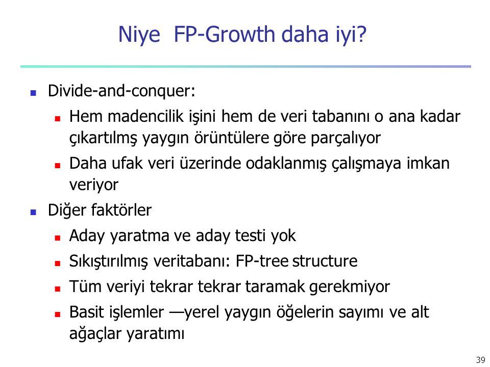 39 Niye FP-Growth daha iyi? Divide-and-conquer: Hem madencilik işini hem de veri tabanını o ana kadar çıkartılmş yaygın örüntülere göre parçalıyor Dah