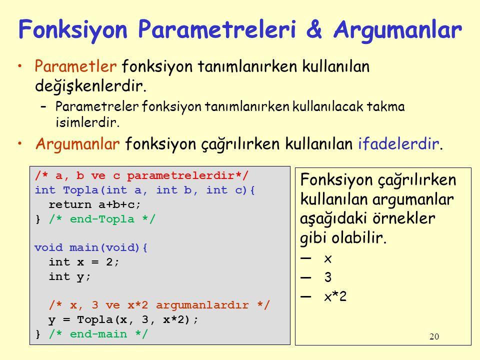 20 Fonksiyon Parametreleri & Argumanlar Parametler fonksiyon tanımlanırken kullanılan değişkenlerdir.