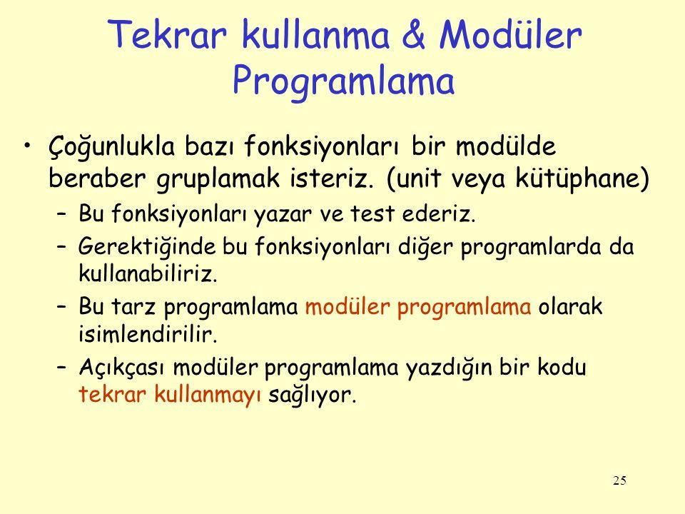 25 Tekrar kullanma & Modüler Programlama Çoğunlukla bazı fonksiyonları bir modülde beraber gruplamak isteriz.