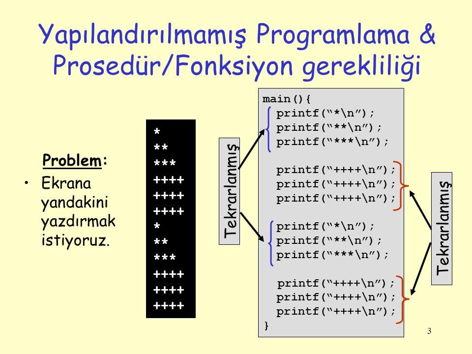 """3 Yapılandırılmamış Programlama & Prosedür/Fonksiyon gerekliliği main(){ printf(""""*\n""""); printf(""""**\n""""); printf(""""***\n""""); printf(""""++++\n""""); printf(""""*\n"""