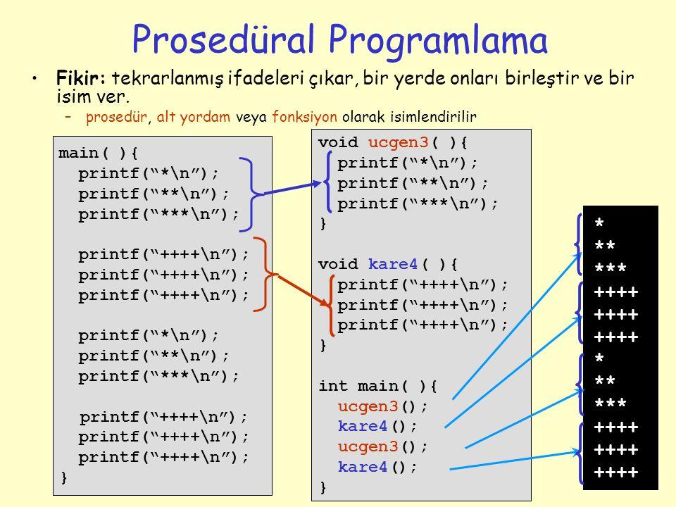 4 Prosedüral Programlama Fikir: tekrarlanmış ifadeleri çıkar, bir yerde onları birleştir ve bir isim ver. –prosedür, alt yordam veya fonksiyon olarak