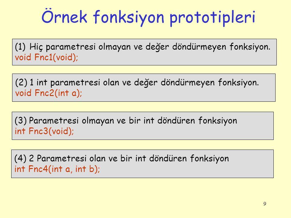 9 Örnek fonksiyon prototipleri (1)Hiç parametresi olmayan ve değer döndürmeyen fonksiyon. void Fnc1(void); (2) 1 int parametresi olan ve değer döndürm