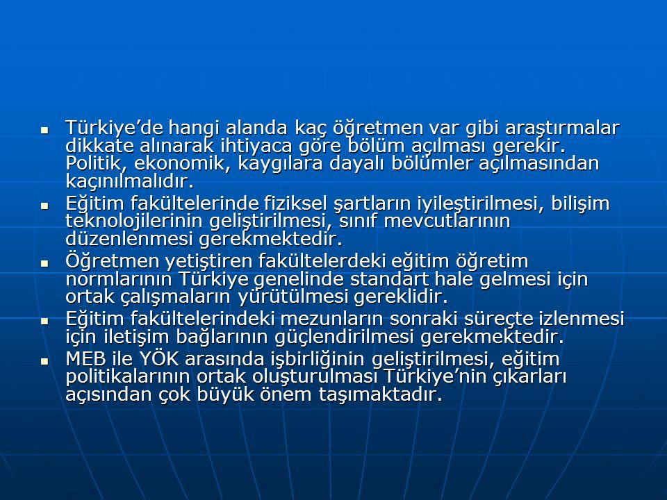 Türkiye'de hangi alanda kaç öğretmen var gibi araştırmalar dikkate alınarak ihtiyaca göre bölüm açılması gerekir.