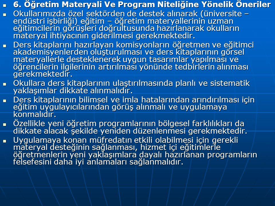 6. Öğretim Materyali Ve Program Niteliğine Yönelik Öneriler 6.