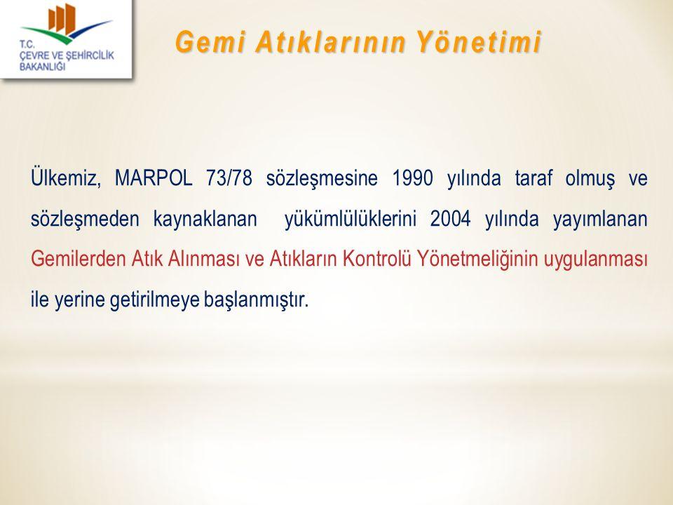 Gemi Atıklarının Yönetimi Ülkemiz, MARPOL 73/78 sözleşmesine 1990 yılında taraf olmuş ve sözleşmeden kaynaklanan yükümlülüklerini 2004 yılında yayımla