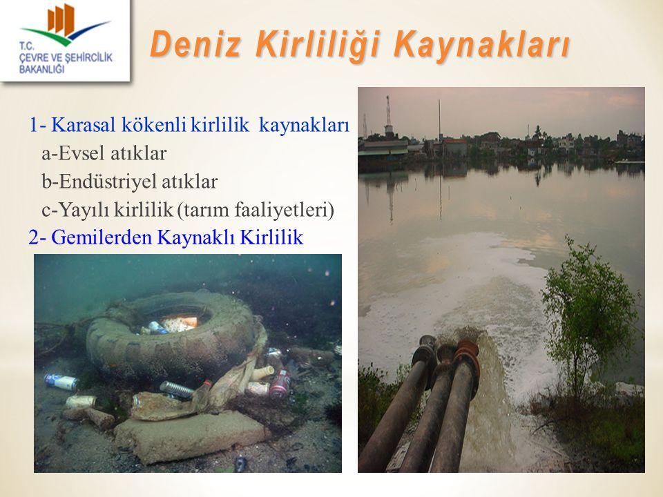 1- Karasal kökenli kirlilik kaynakları a-Evsel atıklar b-Endüstriyel atıklar c-Yayılı kirlilik (tarım faaliyetleri) 2- Gemilerden Kaynaklı Kirlilik De