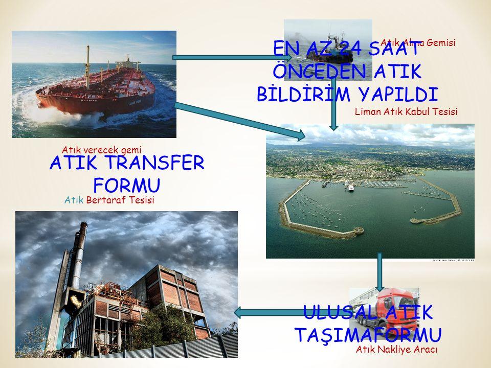 Atık verecek gemi Atık Alma Gemisi Liman Atık Kabul Tesisi Atık Nakliye Aracı Atık Bertaraf Tesisi EN AZ 24 SAAT ÖNCEDEN ATIK BİLDİRİM YAPILDI ATIK TR