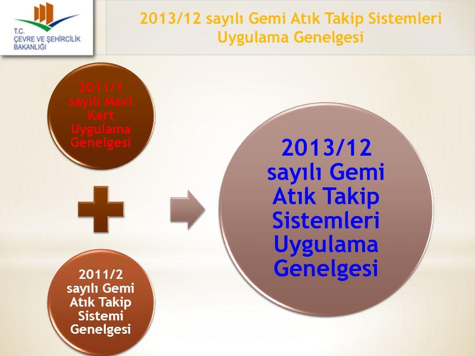 2013/12 sayılı Gemi Atık Takip Sistemleri Uygulama Genelgesi 2011/1 sayılı Mavi Kart Uygulama Genelgesi 2011/2 sayılı Gemi Atık Takip Sistemi Genelges