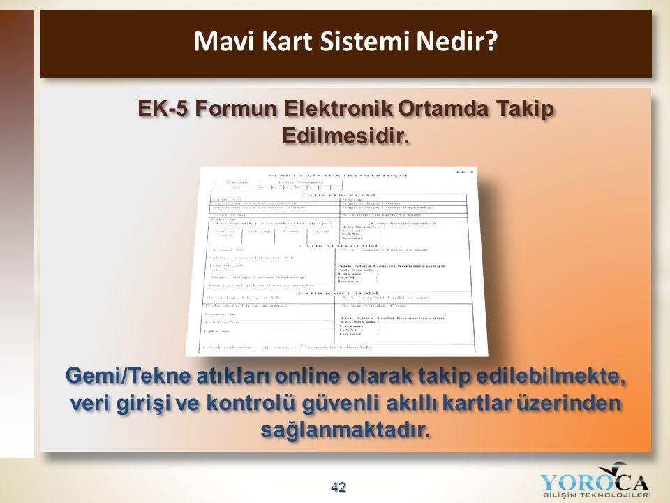 42 Mavi Kart Sistemi Nedir? EK-5 Formun Elektronik Ortamda Takip Edilmesidir. Gemi/Tekne atıkları online olarak takip edilebilmekte, veri girişi ve ko