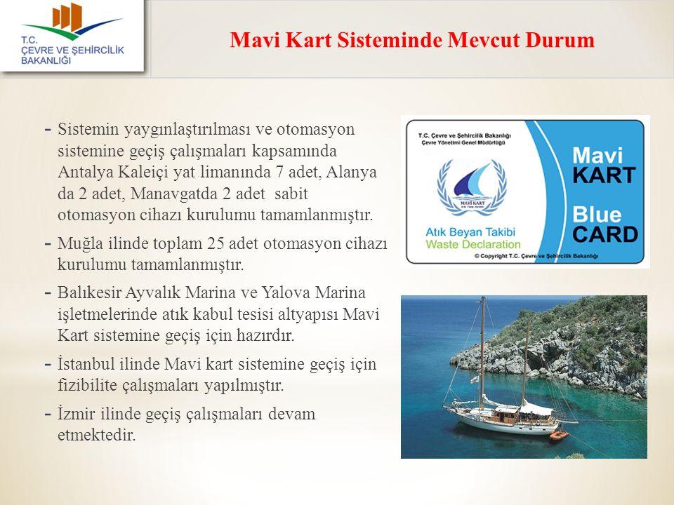 Mavi Kart Sisteminde Mevcut Durum - Sistemin yaygınlaştırılması ve otomasyon sistemine geçiş çalışmaları kapsamında Antalya Kaleiçi yat limanında 7 ad