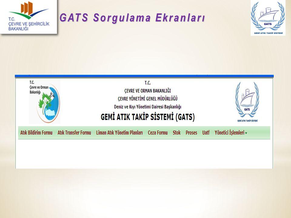 GATS Sorgulama Ekranları