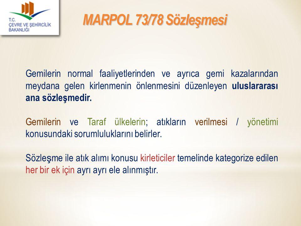 MARPOL 73/78 Sözleşmesi Gemilerin normal faaliyetlerinden ve ayrıca gemi kazalarından meydana gelen kirlenmenin önlenmesini düzenleyen uluslararası an