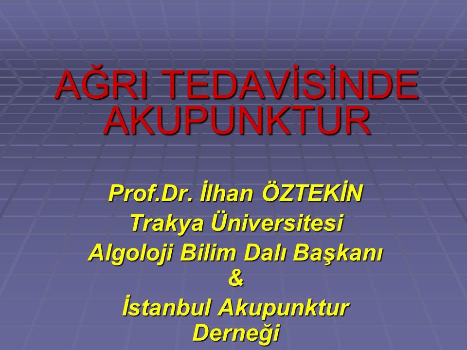 AĞRI TEDAVİSİNDE AKUPUNKTUR Prof.Dr.
