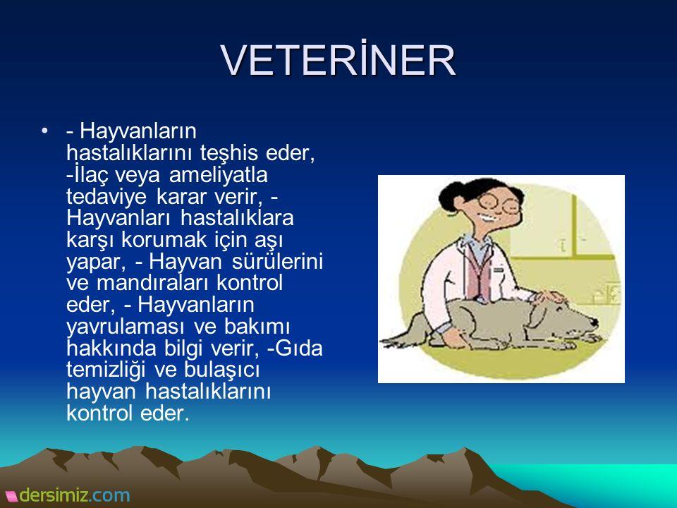 VETERİNER - Hayvanların hastalıklarını teşhis eder, -İlaç veya ameliyatla tedaviye karar verir, - Hayvanları hastalıklara karşı korumak için aşı yapar