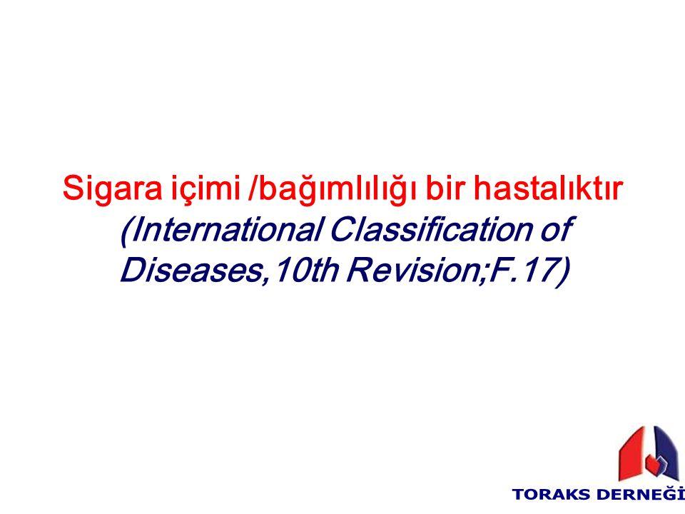 Sigara içimi /bağımlılığı bir hastalıktır (International Classification of Diseases,10th Revision;F.17)