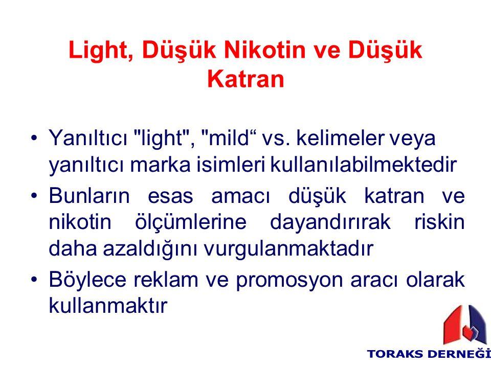 Light, Düşük Nikotin ve Düşük Katran Yanıltıcı light , mild vs.