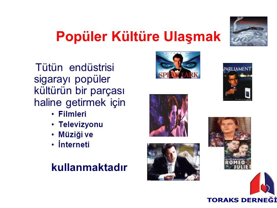 Popüler Kültüre Ulaşmak Tütün endüstrisi sigarayı popüler kültürün bir parçası haline getirmek için Filmleri Televizyonu Müziği ve İnterneti kullanmaktadır