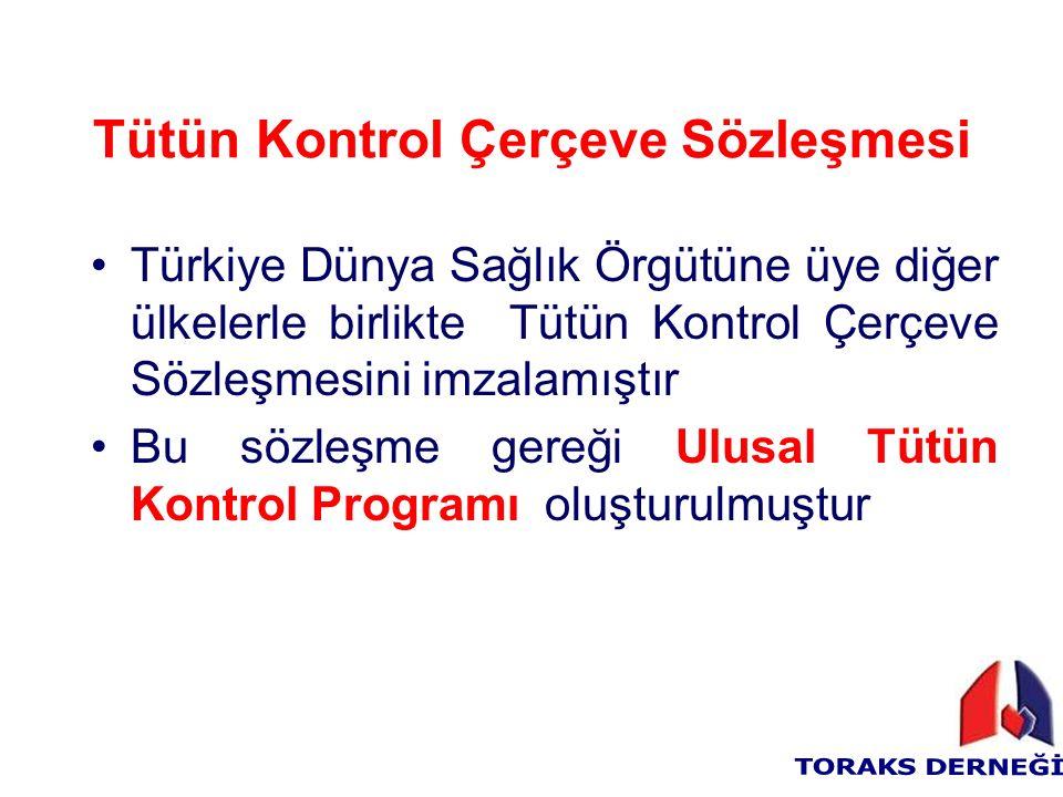 Tütün Kontrol Çerçeve Sözleşmesi Türkiye Dünya Sağlık Örgütüne üye diğer ülkelerle birlikte Tütün Kontrol Çerçeve Sözleşmesini imzalamıştır Bu sözleşme gereği Ulusal Tütün Kontrol Programı oluşturulmuştur