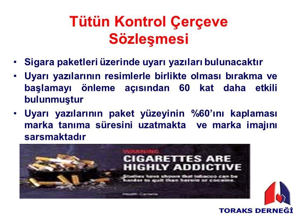 Sigara paketleri üzerinde uyarı yazıları bulunacaktır Uyarı yazılarının resimlerle birlikte olması bırakma ve başlamayı önleme açısından 60 kat daha etkili bulunmuştur Uyarı yazılarının paket yüzeyinin %60'ını kaplaması marka tanıma süresini uzatmakta ve marka imajını sarsmaktadır Tütün Kontrol Çerçeve Sözleşmesi