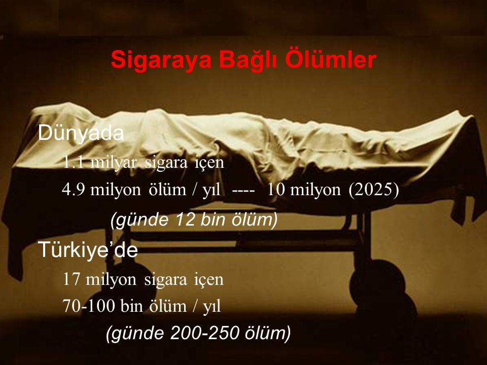 Sigaraya Bağlı Ölümler Dünyada 1.1 milyar sigara içen 4.9 milyon ölüm / yıl ---- 10 milyon (2025) (günde 12 bin ölüm) Türkiye'de 17 milyon sigara içen 70-100 bin ölüm / yıl (günde 200-250 ölüm)