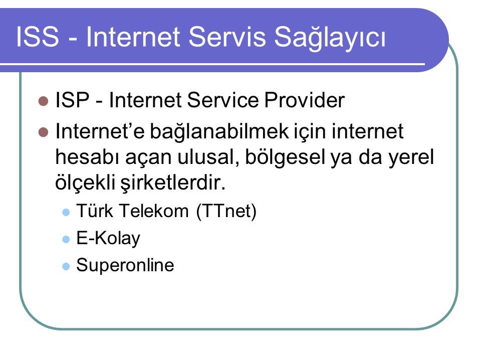 ISS - Internet Servis Sağlayıcı ISP - Internet Service Provider Internet'e bağlanabilmek için internet hesabı açan ulusal, bölgesel ya da yerel ölçekli şirketlerdir.