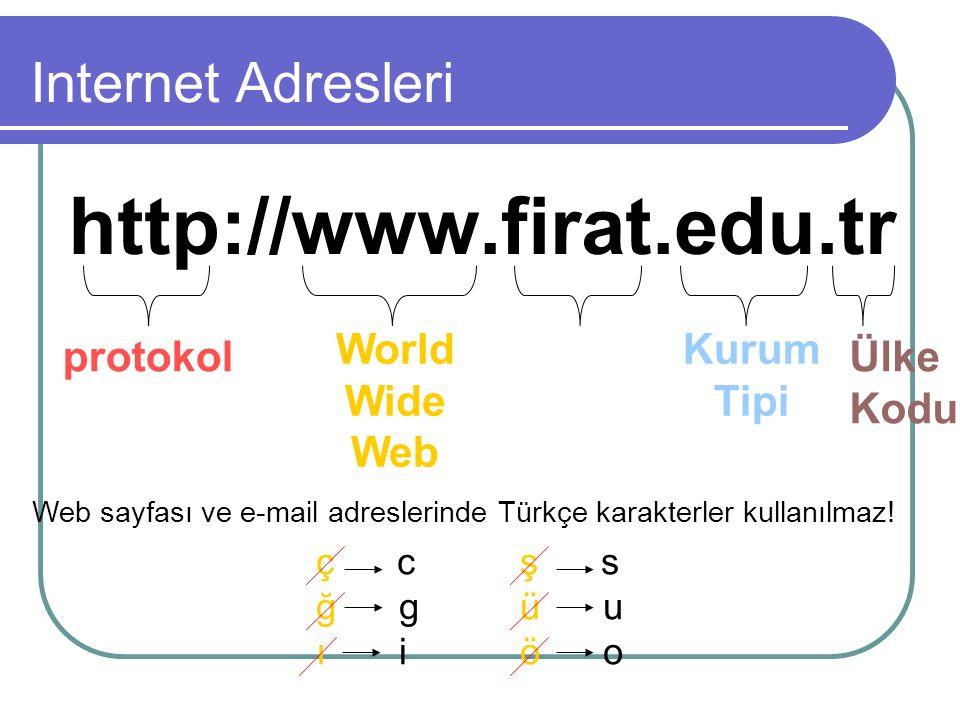 protokol World Wide Web Kurum Adı Kurum Tipi Ülke Kodu Web sayfası ve e-mail adreslerinde Türkçe karakterler kullanılmaz.