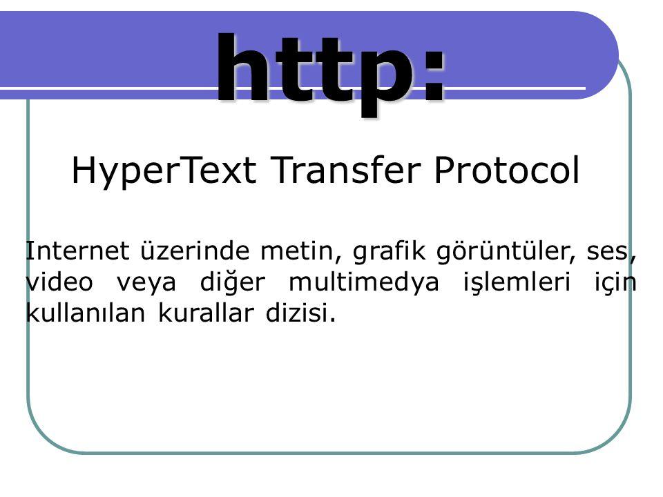 http: HyperText Transfer Protocol Internet üzerinde metin, grafik görüntüler, ses, video veya diğer multimedya işlemleri için kullanılan kurallar dizisi.