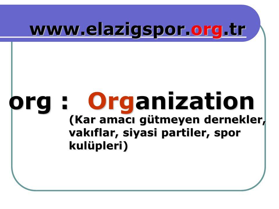 Organization org : www.elazigspor.org.tr (Kar amacı gütmeyen dernekler, vakıflar, siyasi partiler, spor kulüpleri)