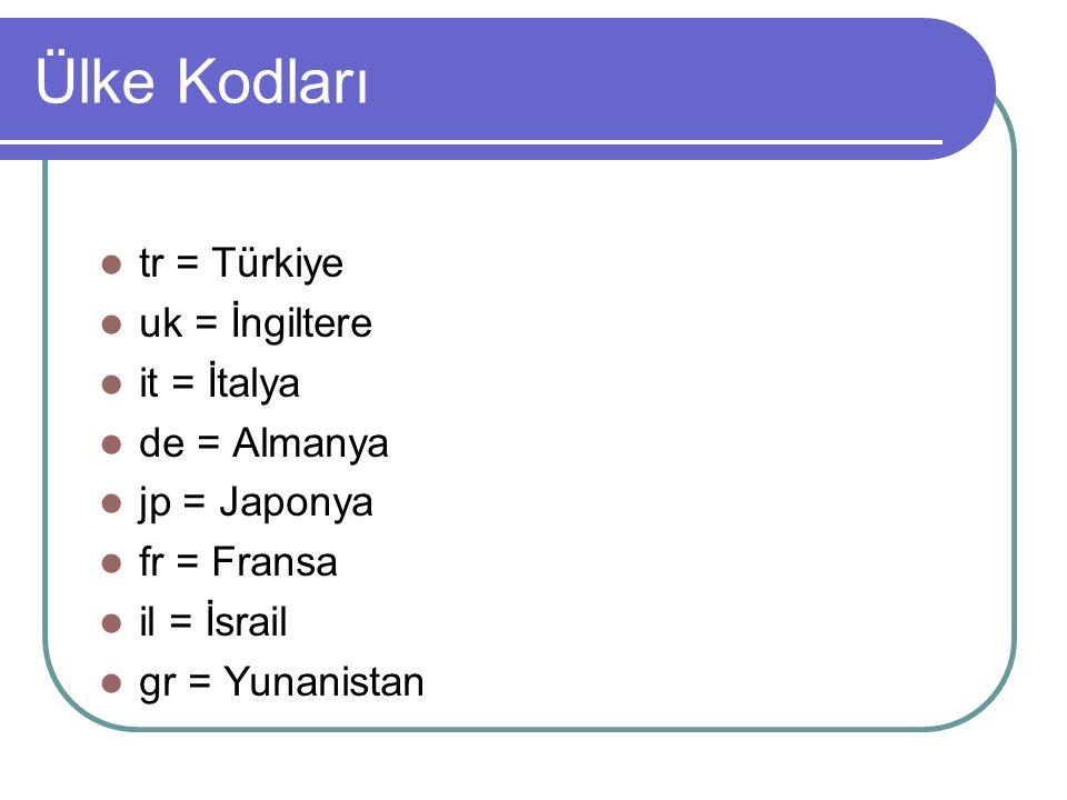Ülke Kodları tr = Türkiye uk = İngiltere it = İtalya de = Almanya jp = Japonya fr = Fransa il = İsrail gr = Yunanistan
