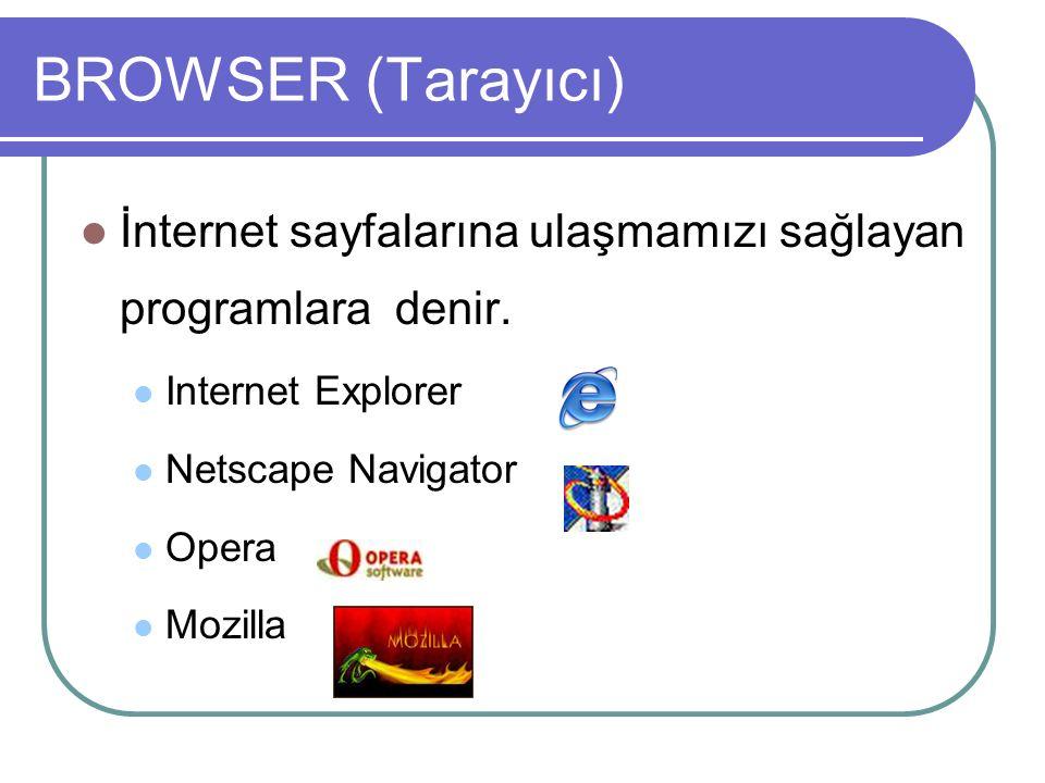 BROWSER (Tarayıcı) İnternet sayfalarına ulaşmamızı sağlayan programlara denir.