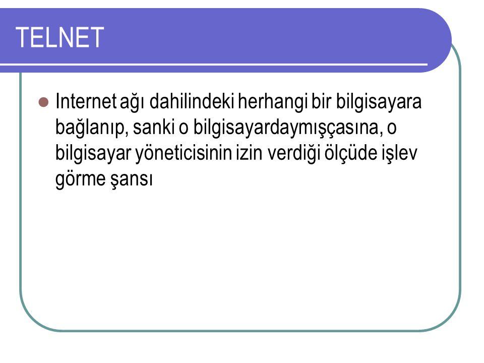 TELNET Internet ağı dahilindeki herhangi bir bilgisayara bağlanıp, sanki o bilgisayardaymışçasına, o bilgisayar yöneticisinin izin verdiği ölçüde işlev görme şansı